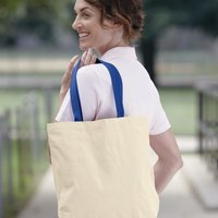 Gusseted 10 Ounce Natural Tote with Colored Handle